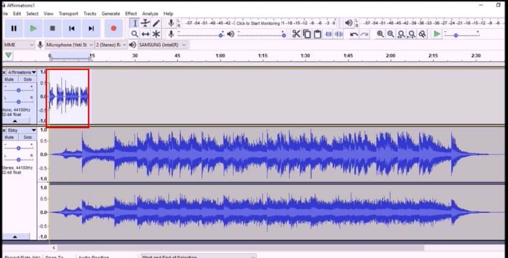 Select the subliminal track with your mouse cursor and copy it.  Then paste it repeatedly at the end until the tracks are about the same length.