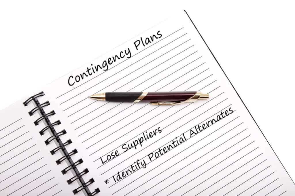 contingency plans notebook and pen
