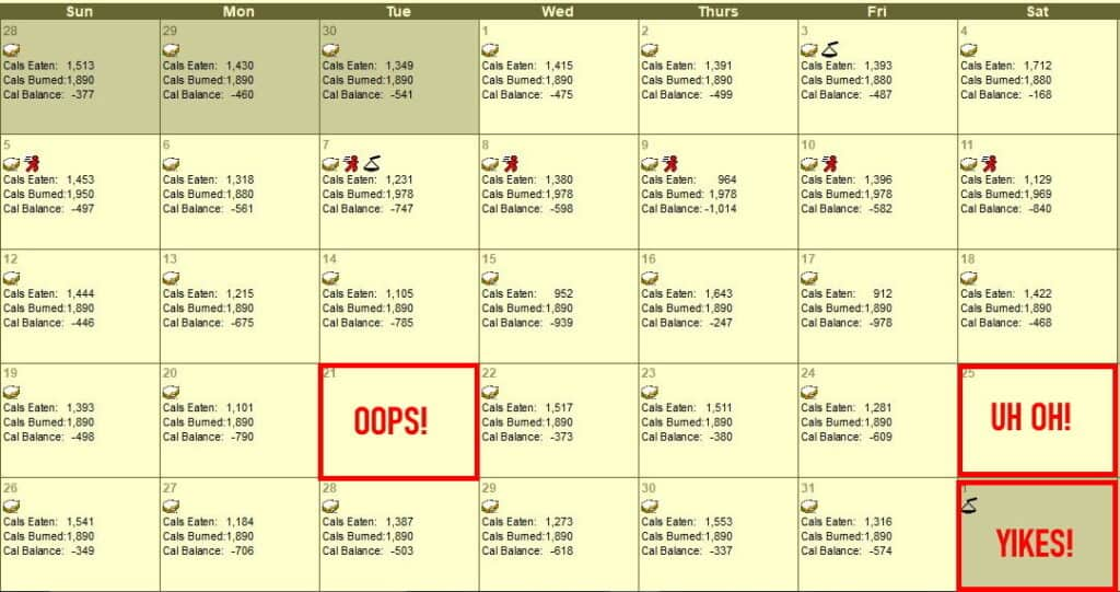 Diet Exercise Calendar