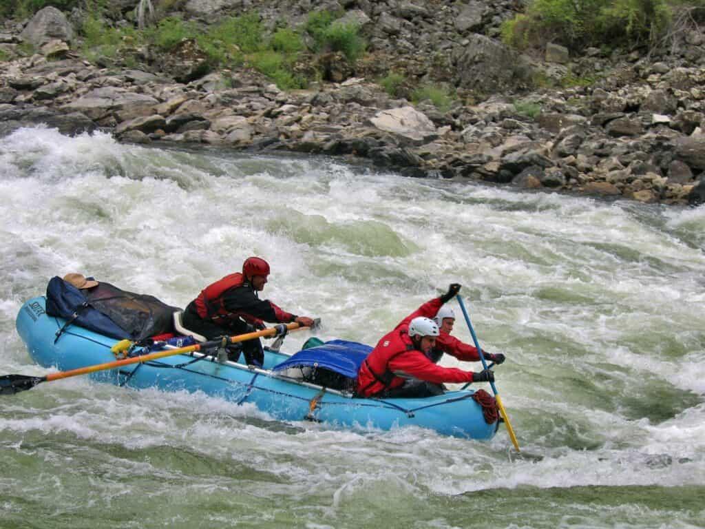 rafting in rough waters