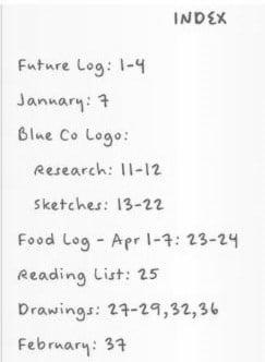Bullet Journal Index
